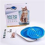 Zehui Cat Toilet Training Kit Litter Toilet Training System - Teach Your Cat to Use the Toilet Blue