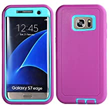 MOONCASE Galaxy S7 Edge Case, 3 Layers Heavy Duty Defender Hybrid Soft TPU +PC Bumper Triple Shockproof Drop Resistance Protective Case Cover for Samsung Galaxy S7 Edge -Purple Blue