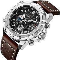 Tamlee Mens Sport Watch Digital Analog Waterproof Multifunctional Military Brown Leather Wrist Watches