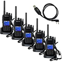 Retevis RT3 DMR Digital/Analog Two Way Radio Transceive UHF 400-480MHz 1000CH DTMF VOX Walkie Talkie with Earpiece(5 Pack) and Programming Cable