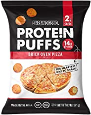 Shrewd Food Protein Puffs, Low Carb Cheese Pizza Puffs, High Protein Crunch, Keto Friendly Snack, Savory Prote