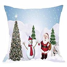 Elogoog Thanksgiving Christmas Decor 18 x 18 Pillow Covers Printing Santa Claus Elk Snowman Dyeing Ultra-velvet Throw Pillowcase Sofa Waist Cushion Cover (18 x 18 Inches, Santa Claus and Snowman)