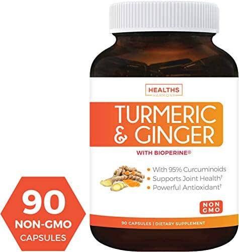 Turmeric Curcumin with Bioperine & Ginger (Non-GMO & Vegetarian) 1980mg Per Serving for Pain Relief and Joint Support. 95% Curcuminoids - Black Pepper Extract. 90 Capsules Supplement - No Pills