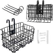 Dankeler Detchable Folding Front Bike Basket, Heavy Load Multi-Purpose Rear Hanging Bike Basket for Mountain B