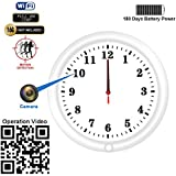WiFi Hidden Camera Wall Clock Recorder Fuvision with Camera Lens Adjustable Motion Detect and Remote Live View Built-in 5000mah Battery for 180 Days Recording Standby Time Security Camera(Video Only!)