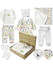 Minizone Newborn Gift Set Baby Initial First Equipment Clothing Bathtowel Bibs Baby with 10 Parts for Boys Girls Layette Set White
