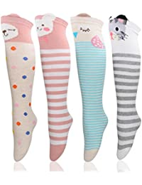 3/4 Pairs Girls Socks Knee High Socks Stockings Cartoon Animal Warm Cotton Socks
