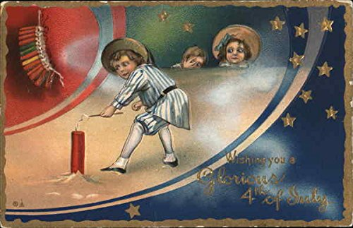 - Wishing You A Glorious 4th of July Original Vintage Postcard