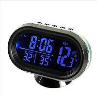 Termómetro de Reloj Digital para Coche,Probador de Voltímetro de Función de Temperatura doble Luminosa de Automóvil…