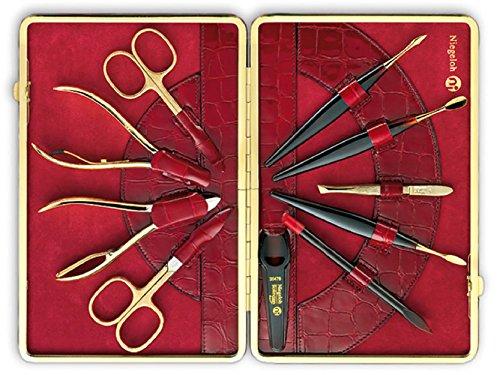 Gold Plated Manicure Set (Niegeloh Kroko 10 Piece Gold Plated Manicure Set - Red)