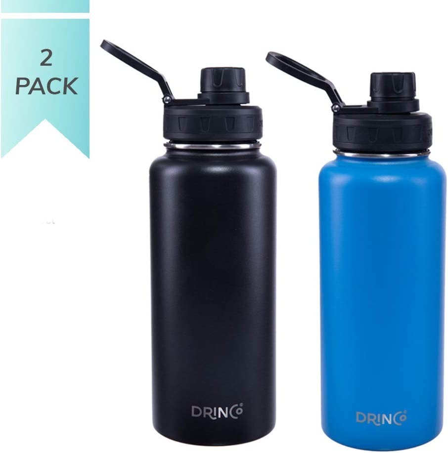 Drinco Vacuum Insulated Stainless Steel Water Bottle Spout Lid, Wide Mouth, Leak Proof, Powder Coated, Double Wall, 18/8 Grade, Stainless Steel Water Bottle 30 oz (Black & Blue) 2 pack