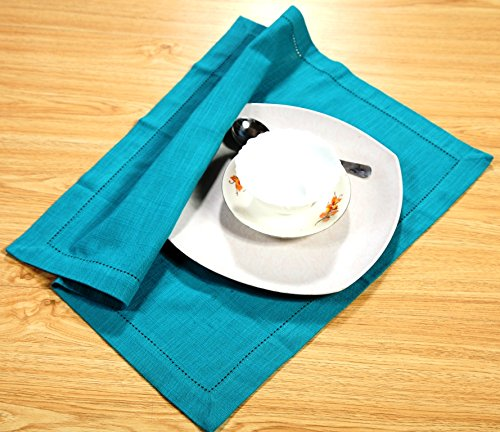 6 PACK Slub Cotton Dinner Napkins Teal Color ,18x18 Inch with Mitered Corner Finish & Hemstitched Detailing offered by Linen Clubs (Teal Table Cloth Linen)