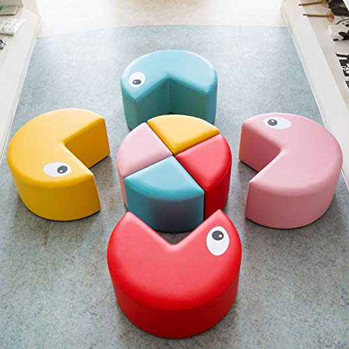 Kinbor Soft Chairs Stools Set for Toddler Colorful Kids Sofa Chair for School,Home,Outdoor,Red,Pink,Yellow,Blue (8 Piece Sectional Sofa 1)