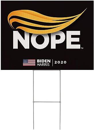 Amazon Com 1pc Anti Trump Yard Sign Joe Biden 2020 Campaign Trump Nope Political Double Sided Waterproof 12x18 Includes Lawn Stake Garden Outdoor