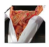 MENDENG Mens Red Gold Paisley Jacquard Woven 100% Silk Cravat Necktie Ascot