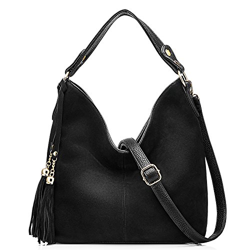 Black Leather Tassel Bag - 8