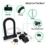 """White Rock Gear Bike U Lock with Cable - Heavy Duty 16mm Bicycle Lock with 45"""" Steel Flex Cable and 3 Keys + Mounting Bracket - Durable and Anti-Theft"""