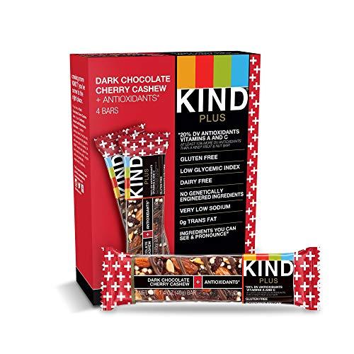(KIND Bars, Dark Chocolate Cherry Cashew + Antioxidants, Gluten Free, Low Sugar, 1.4oz, 4)