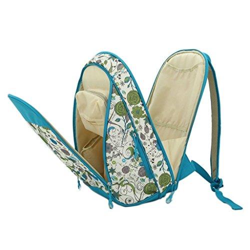 LCY–Mochila bolsa de pañales de bebé Purple Flowers Light Blue Flowers