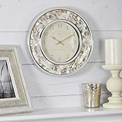 FirsTime & Co. 00145 Pearl Mosaic Wall Clock, 10.25, White/Silver