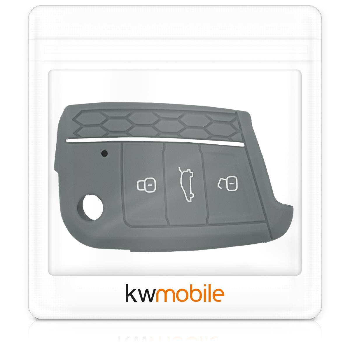 kwmobile Car Key Cover for VW Golf 7 MK7 - Silicone Protective Key Fob Cover for VW Golf 7 MK7 3 Button Car Key - Grey/White