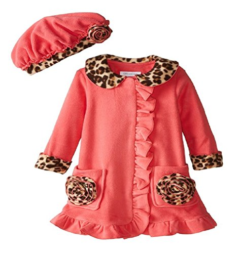 Bonnie Jean Little Girls' Fleece Coat with Leopard Trim, Coral, 3T (Bonnie Jean Coat)