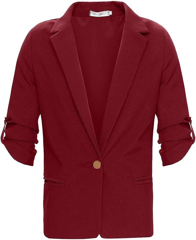 Sunnyrise Damen Blazer Cardigan D/ünn 3//4 L/ängere Elegant Leicht Bolero Jacke Blazer Slim Fit Anzug Trenchcoat