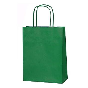 20 bolsas de papel kraft con asas trenzadas e ideales para utilizar en fiestas o para hacer regalos, verde oscuro, XS