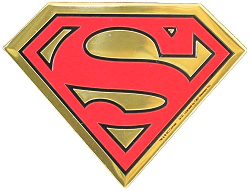 DC Comics Originals Superman Logo On Embossed Metal Emblem Sticker, Yellow, 9cm (Guitar Dc Logo)