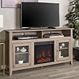 "WE Furniture Rustic Wood and Glass Tall Fireplace Stand for TV's up to 64"" Flat Screen Living Room Storage Cabinet Doors and Shelves Entertainment Center, 58"", Driftwood"