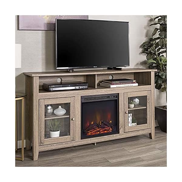 Walker Edison Glenwood Rustic Farmhouse Glass Door Highboy Fireplace TV Stand for TVs up to 65 Inches, 58 Inch…