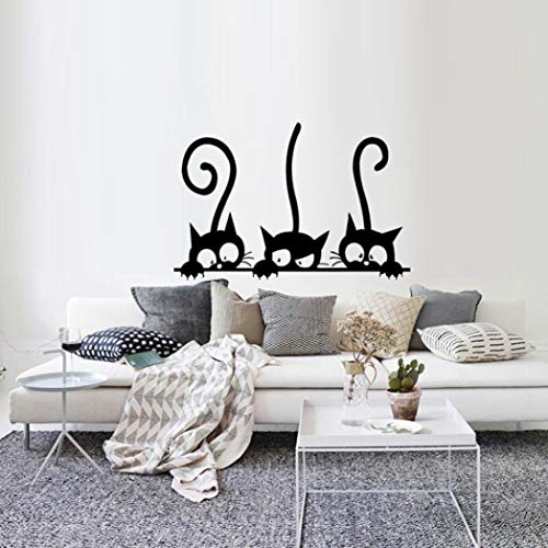 Rumas Three Cats Wall Stickers Family - 30 X 20 cm - Peel & Stick Wall Mural Decor Kids Room Living Room Window Door Car Kindergarten - Art DIY Wall Decals (Black)