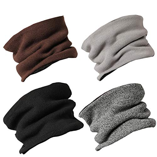 Jormatt 4 Pack Double-Layer Thick Neck Warmers Fleece Circle Scarf Mask Heat Trapping Thermal Outdoor Chunky Neck Gaiters Men Women Winter,4 Pack ()