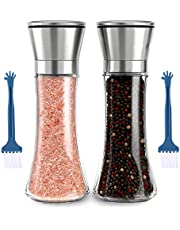 Salt and Pepper Grinder Set 180ML, GeeRic 2 Pack Salt and Pepper Shakers with Adjustable Non-Corrosive Ceramic Grinder Stainless Steel and Glass Body Shakers with 2 Cleaning Brushes