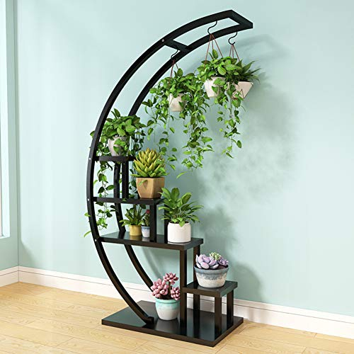 - D&LE 5 Tier Metal Plant Stand Rack Shelf Creative Half Moon Shape Ladder Flower Pot Stand Rack for Home Patio Lawn Garden Balcony Holder-Black 27x13x56(68x33x143cm)