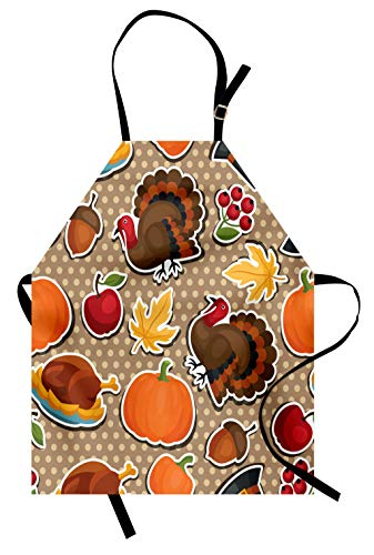 Lunarable Thanksgiving Apron, Happy Thanksgiving Day Pattern with Cartoon Holiday on Retro Polka Dots, Unisex Kitchen Bib with Adjustable Neck for Cooking Gardening, Adult Size, Soft Brown