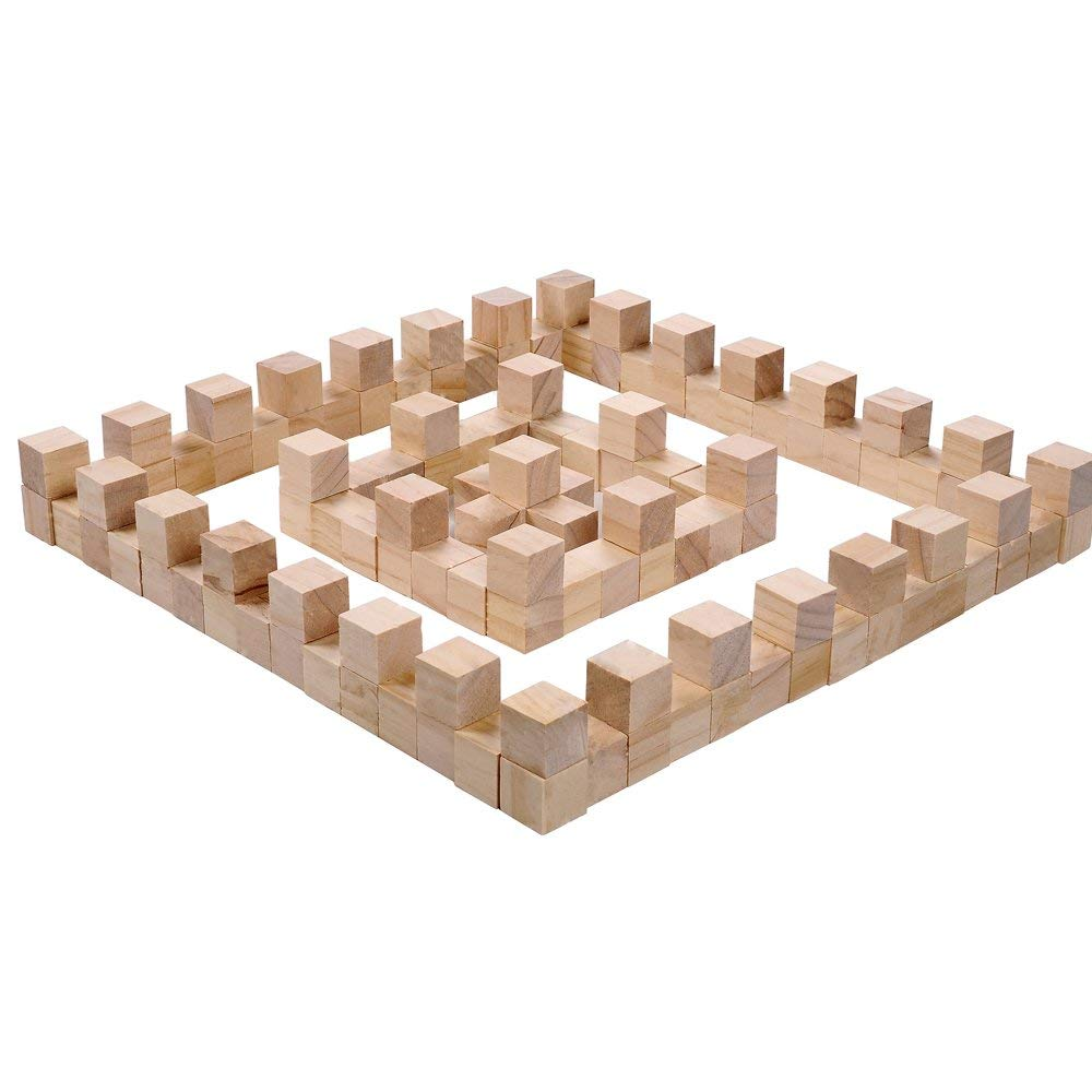 Fuhaieec 100 Pcs 1 Inch Wood Square Blocks for Puzzle Making Blank Wooden Cubes Wood Blocks for Baby Blocks Baby Shower DIY Crafts Carving Art Supplies
