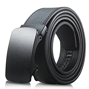 Men's Genuine Leather Belt- Ratchet Black Dress Belt for Men with Automatic Buckle. (Up to Size 46, Black With Buckle #04)