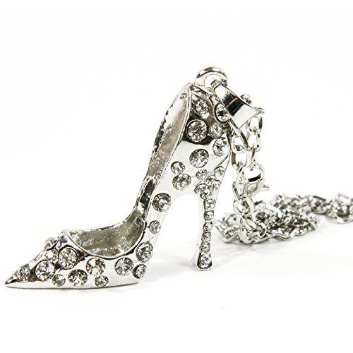 Red Hound Auto Silver Bling High Heel Shoe Mirror Car Charm Hanger Ornament Clear Rhinestones w Chain ()