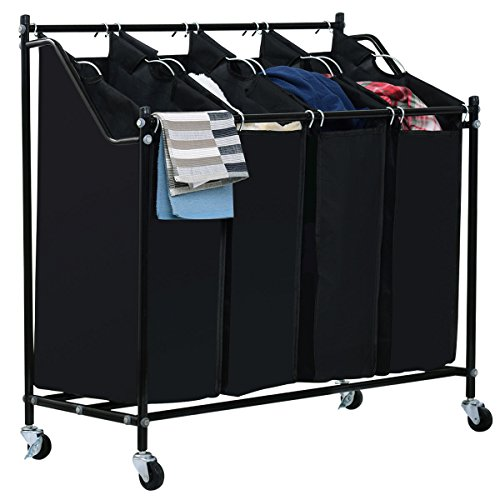 Giantex Heavy-Duty 4-Bag Rolling Laundry Sorter Cart with Wheels Organizer Compact Basket, Black