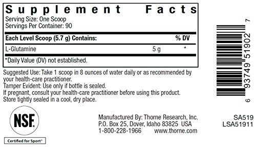 THORNE RESEARCH L Glutamine Powder 12oz [Health and Beauty]