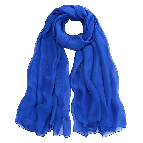 Blue Silk Long Scarf - 9