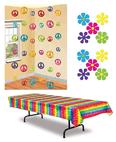 FAKKOS Design 60s Party Decorations Pack - Groovy Peace Sign Strings Tie-Dyed Table Cover and Retro Flower Cutouts ()