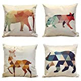 IPPIH 4 Packs Square Pillow Cover - 16 X 16 Inch Decorative Throw Pillowcase, Geometric Animals