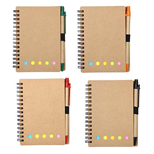 (M-Aimee 4 Sets Spiral Notebook Kraft Paper Cover Steno Pocket Notepad with Pen in Holder, Sticky Notes and Page Marker Index Tabs Flags, 3.3 x 5.3 inches (Brown))