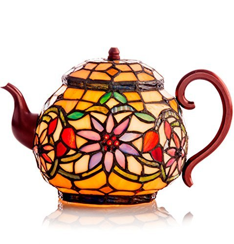 Stained Glass Teapot Accent Lamp Tiffany Style Tea Pot Kettle by Private Label