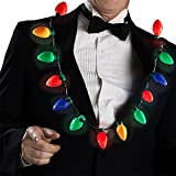 LED Light Up Christmas Bulb Necklace String Light Party Favors for Adults or Kids Holiday Xmas