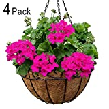 4 Pack Metal Hanging Planter Basket with Coco Coir Liner 12 Inch Round Wire Plant Holder with Chain Porch Decor Flower Pots Hanger Garden Decoration Indoor Outdoor Watering Hanging Baskets