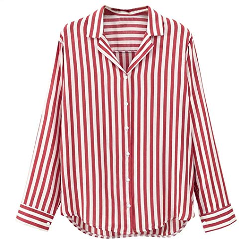 Shirt Women s Ladies Striped Long Sleeve Cut Out Button Work Office Blouse  Top Tee Shirt Sanfashion fca8b41bee57
