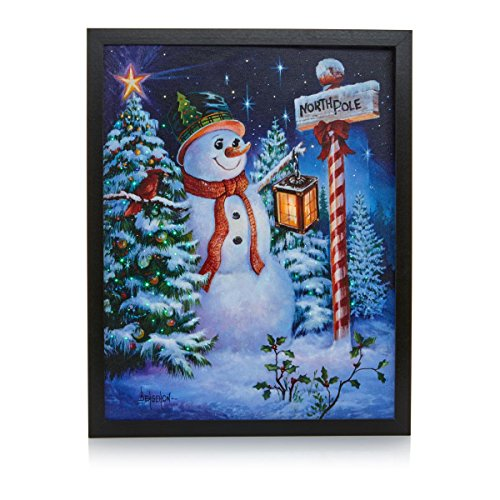 Winter Lane Fiber-Optic Lit Canvas Art with Remote - Snowman